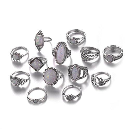 Balakie - Anillos de moda con piedra natural de ópalo de fuego y diamante retro, anillo de apilamiento, 13pcs G, Talla única