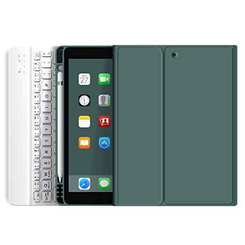 ZOYU iPad Keyboard Case for iPad 9.7 inch 2018 (6th Gen)/ iPad 2017 (5th Gen)/iPad Air 2/Air 1,Lightweight Smart iPad Cover with with Pencil Holder,Magnetically Detachable Wireless Keyboard-Dark Green