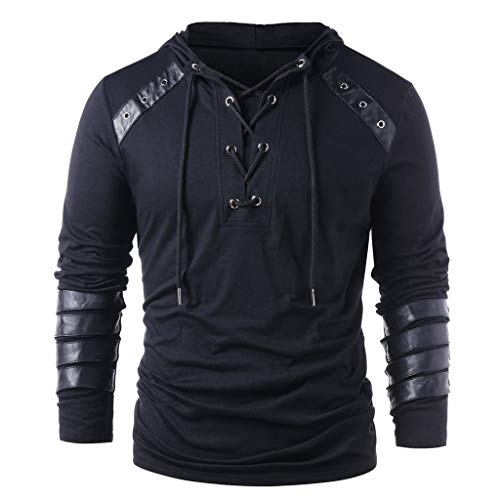 Buy Mens PU Leather Pullover Hoodie Drawstring Lace Up Patchwork Top Splicing Sweatshirt (XXL, Black)