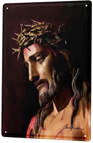 Cartel de chapa de Refosian, placa de metal, placa, iglesia, Jesús, corona de espinas