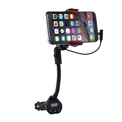 Icoco Universele mobiele telefoonhouder voor in de auto, weegschaal met FM-zender en USB-aansluitingen, 3.1A lader, 360 ° rotatie voor iPhones, Samsung Galaxy en andere smartphones