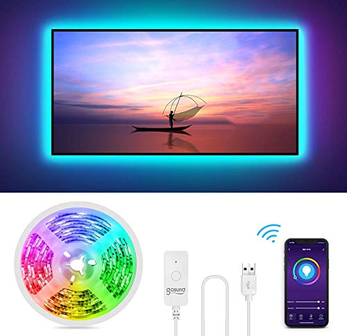 Gosund Tira Led Wifi USB para TV Sincronizar con Música,  Control por Voz/Remoto para Ajustar Múlticolores y Brillo,  Luces LED RGB Inteligente con 8 Modo Escena,  IP65- Impermeable,  Anti- UV