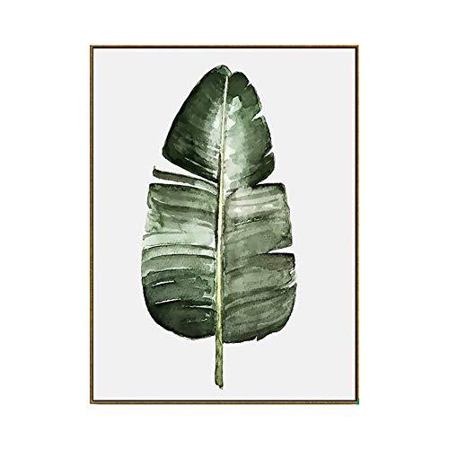 ZTBXQ Décorations Quotidiennes Vert Plante Feuille Peinture Moderne Minimaliste Nordique Mur Art Affiche Vert Feuille Peinture Décoration Naturelle Image Jardin Petite Frais Chambre Salon Mural