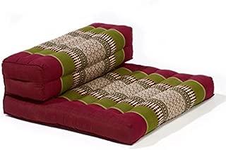 myZENhome Organic Kapok Filled Dhyana Meditation Cushion (Army Green/Red)
