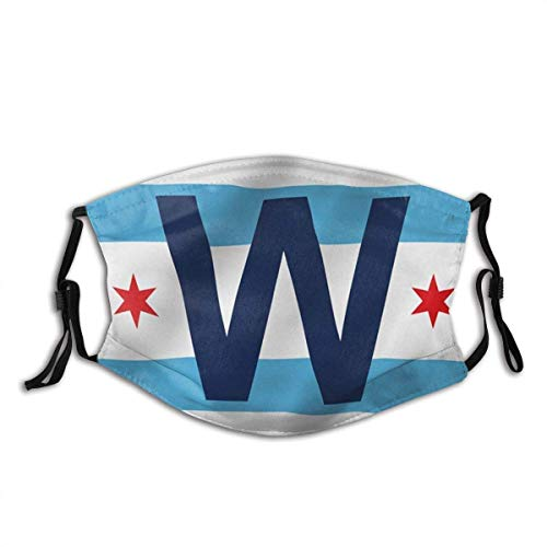 Unisex Cloth Face Mask Chicago Cub Win Combo Flag Chicago City W Wrigley Field Flags Dust Washable Reusable Filter and Reusable Mouth Warm Windproof Cotton Face