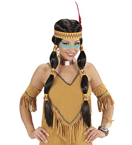 Widmann wdm93332 – pruik Indianen Squaw met hoofdband en veer, zwart, één maat