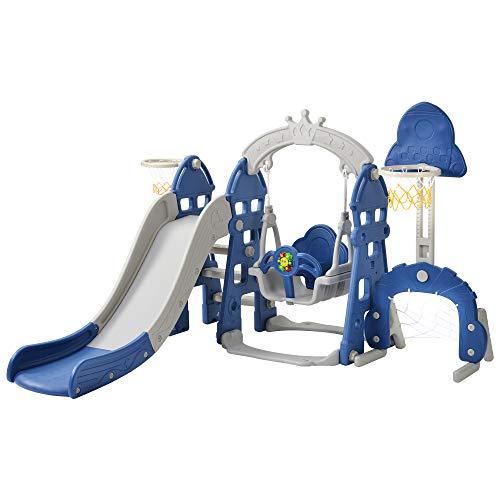 Parque infantil 5 en 1, tobogán y columpio y canasta de baloncesto y escalera y portería de fútbol, columpio de jardín, columpio infantil, tobogán, para interior y exterior (azul)
