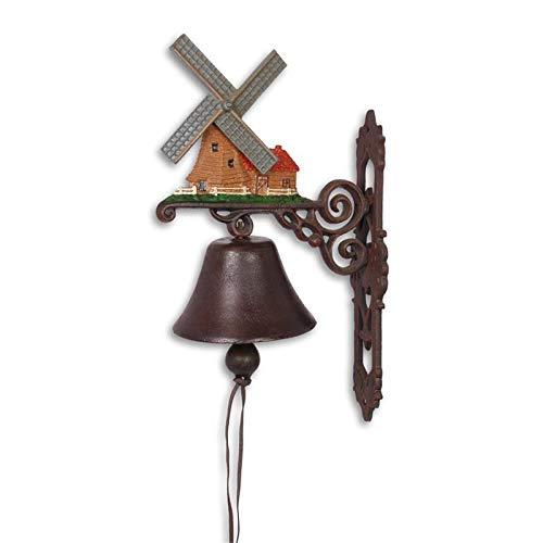 Moritz gietijzeren wandklok windmolen Holland Nederland klok deurbel 40 cm hoogte huisklok antieke stijl bruin bel versierd