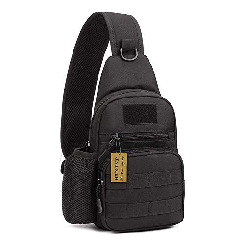 Huntvp Taktisch Brusttasche Military Schultertasche mit Wasserflasche Halter Chest Sling Pack Molle Armee Crossbody Bag Militärisch Umhängetasche für Wandern Camping - Typ-1 Schwarz