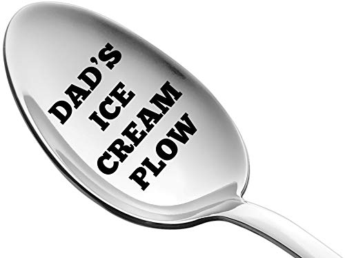 Weenca Engraved Spoon Dad's Ice Cream Plow Gift for Dad Sturdy Stainless Steel Ice Cream Spoon Best Dad Gifts for Beloved Dad's who Adore Ice Cream