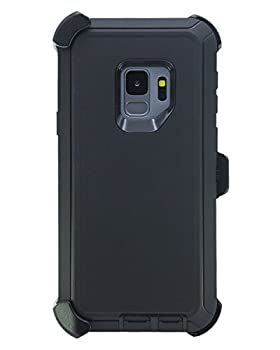 """WallSkiN Turtle Series Belt Clip Cases for Galaxy S9  5.8""""  3-Layer Full Body Life-Time Protective Cover & Holster & Kickstand & Shock Drop Dust Proof - Black/Black"""