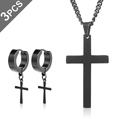 Omont Collar Colgante de Cruz Acero Inoxidable Negro para Hombres Mujeres,Cruz Religiosa,60 cm Religious Cross Colgante,Un par de Pendientes de Acero Inoxidable de Cruz Negra.
