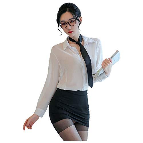 QJHDO Women's G-Strings Thongs & Tangas Sexy Lehrerin Frauen Sexy Dessous Set Sexy Dessous Büro Sekretärin Cosplay Uniform Kostüme Outfit Set-Balck_One_Size