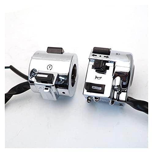 Huhu 1 par de Interruptor de Control de Control de Cromo Derecho e Izquierdo Ajustado para GY6 Moped Scooter Retro 50cc 125cc 150cc