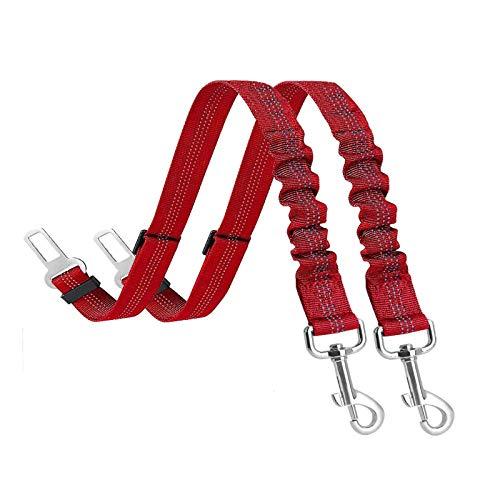 Cinturón de Seguridad para Perros, 2 Cinturones de Seguridad para Perros con función elástica amortiguadora, Cinturones deseguridad Ajustables Apto para Perros, Gatos y Todo Tipo de Coches