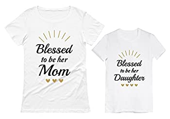 Blessed Mommy and Me Outfits Mother Daughter Matching Shirts Mothers Day Set Mom White XX-Large/Daughter White 5/6