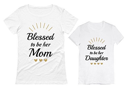 Blessed Mommy and Me Outfits Mother Daughter Matching Shirts Mothers Day Set Mom White Medium/Daughter White 5/6