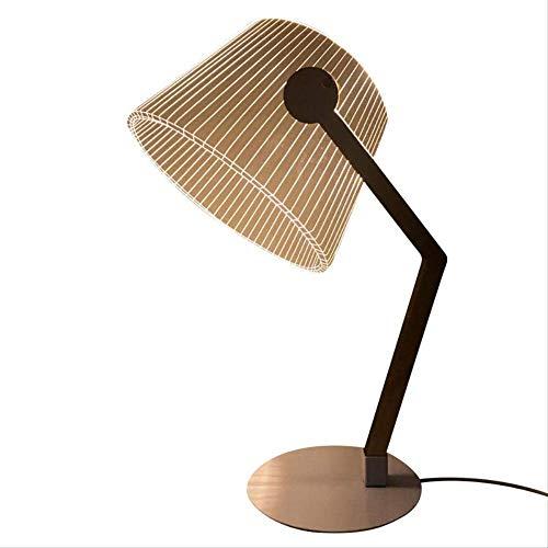 Tafellampen ZWRY 3D Effect Stereo Vision LED-bureaulamp Houtsteun Acryl Lampenkap LED-licht Woonkamer Slaapkamer Leeslamp Met USB-stekker 41 * 25 * 16CM Warm