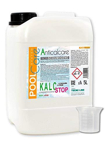 POOL CARE KALC Stop 5 litres + Gobelet Gradué - Détartrant concentré pour piscine - chélateur du calcaire et du fer. Traitement anti-calcaire expédition immédiate