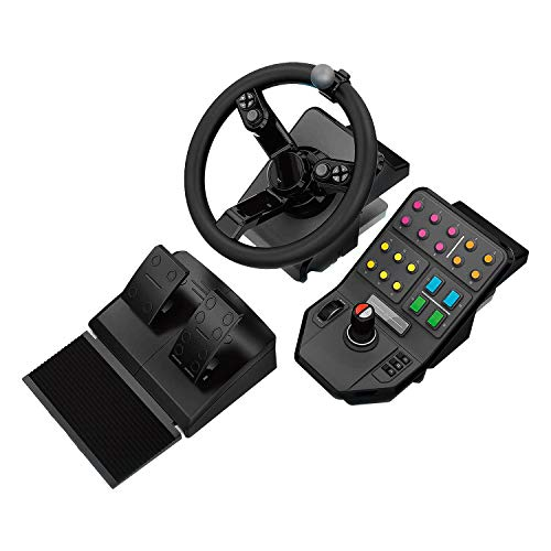 Logitech G Farm Simulator Heavy Equipment Bundle (2nd Generation), Steering Wheel Controller for Farm Simulation 19 (or Older), Wheel, Pedals, Vehicule Side Panel Control Deck for PC/PS4