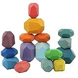 DierCosy Tools Legno Balancing ostruisce i Giocattoli, in Legno Naturale di impilamento Gioco di Costruzione Giocattoli del Blocchetto migliora Le capacità del Motore per i Bambini 16Pcs colorato