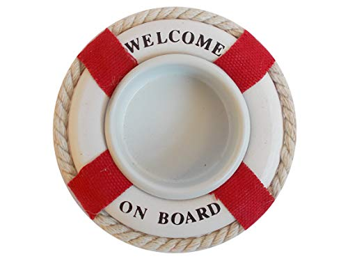 Unbekannt Maritimer Teelicht-Halter Rettungsring Welcome on Board - Kerzenhalter für Teelichter in Rot oder Blau (58432-B)