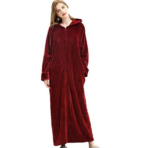 Comcrib Damen Bademantel Langer Morgenmantel Nachtwäsche Durchgehender Reißverschluss Warme Nachtwäsche Winter Lange Robe Sauna Mantel Mit Kapuze