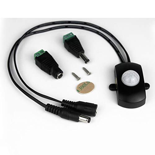 Taikuwu Aotomatic Mini 5A/12V 24V PIR Sensor de Movimiento infrarrojo Detector Interruptor para Tira de luz LED + Conector de alimentación DC Macho Hembra