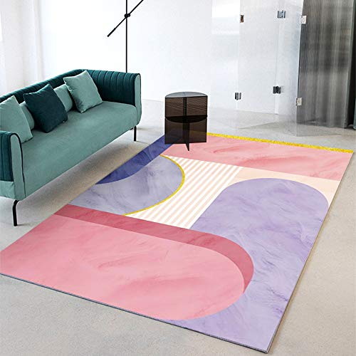 Orange Light Luxury Geometric Mosaic Carpet Nordic Decoration Living Room Sofa Blanket Thick Non-Slip Bedroom Coffee Table Kitchen Door Mat