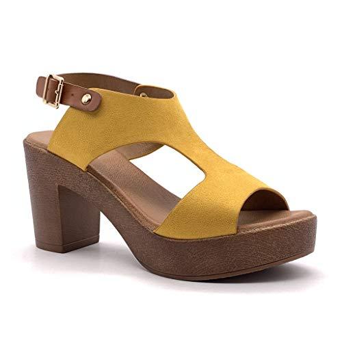 Angkorly - dames schoenen sandalen Mule - High Heels - Vintage/Retro - Plateauschoenen - houteffect blokhak 8 cm