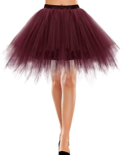 tüllrock Damen Knielang Tüll Petticoat Kleider Unterrock Dirndl kurz Vintage Rock Damen kariert Petticoat rot Tutu Ballet Tüllrock Burgundy XL