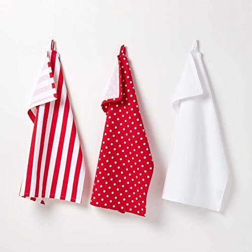 Homescapes – Pur Coton – Torchons Vaisselle – Lot de Trois – À Pois – Rouge Blanc – 50 x 70 cm - Linge de Cuisine Entièrement Coordonné et Lavable