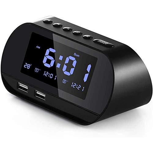 Boenxuan Radiowecker Digitaler FM Radiowecker Mit Zwei USB Ladeanschlüssen,Dual Alarm Helligkeit Temperaturanzeige Stunden,Schwarz