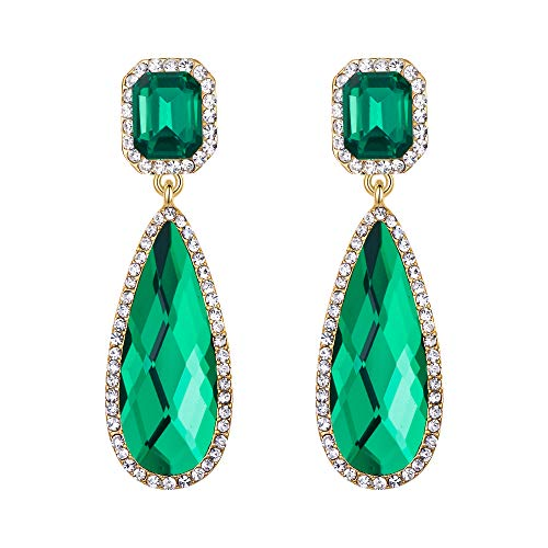 BriLove Wedding Bridal Dangle Earrings for Women Crystal Asscher Cut Elongated Faceted Teardrop Infinity Earrings Emerald Color Gold-Toned