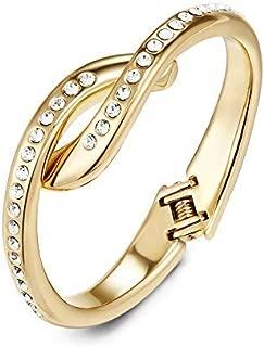 Mestige Golden Annabelle Hinge Bracelet with Swarovski® Crystals (Gold), Gifts Women Girls, Hinge, Bracelet