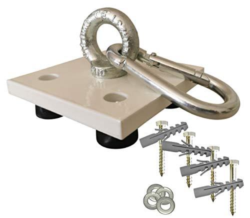 Weiße Profi Boxsack Halterung, Deckenhalterung, Deckenhalter mit Schrauben, Dübeln und Distanzhülsen