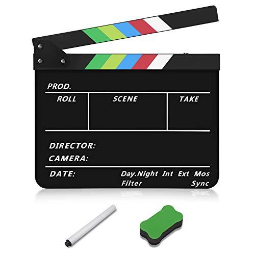 Flexzion Acrylic Plastic Clapboard Director's Clapper Board Dry Erase Cut Action Scene Slateboard for Hollywood Camera Film Studio Home Movie Video 10x12' with Color Sticks