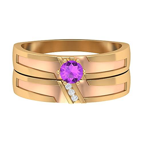 Juego de anillos de par de dos tonos de 1/4 quilates con kunzita y diamante, 14K Oro amarillo, Size:EU 49