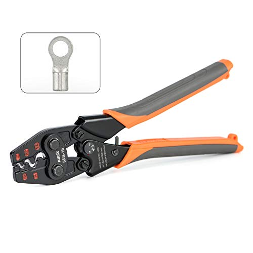 IWISS Ratchet Electrical Crimping Tool for Non Insulated Butt Connectors, Butt Splice Wire Connectors from AWG 22-6