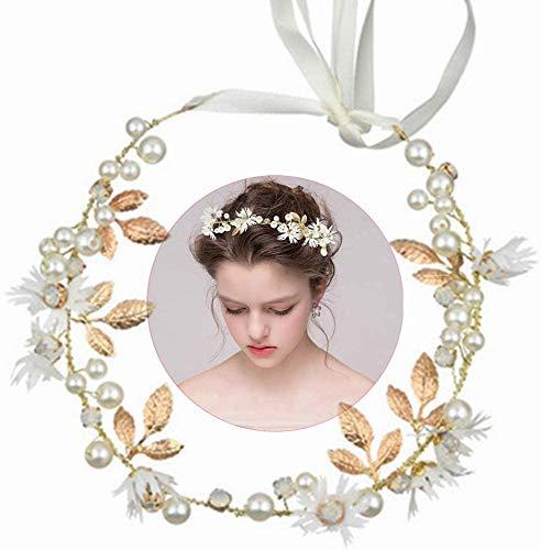 INTVN Braut Haarschmuck Blumenstirnband Braut Blumenkranz mit Künstliche Blättern,Blumen und Perle Strass Blumen-Haarbänder Braut Hochzeit Haarschmuck für Damen Mädchen