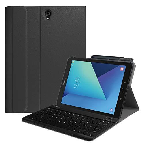 Fintie Tastatur Hülle für Samsung Galaxy Tab S3 T820 / T825 (9,68 Zoll) Tablet-PC - Superdünn leicht Ständer Schutzhülle mit magnetisch Abnehmbarer drahtloser Deutscher Bluetooth Tastatur, Schwarz