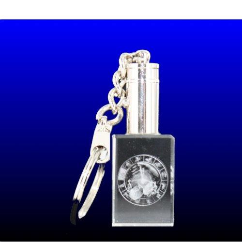 VIP-LASER 3D Glas Kristall LED-Schlüsselanhänger Horoskop Sternzeichen 'Waage'