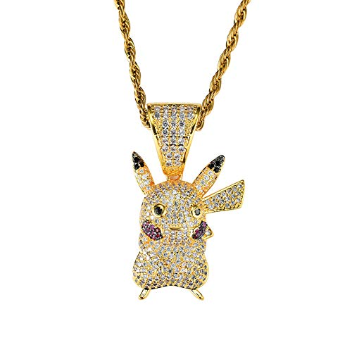 KMASAL Jewelry Hip Hop Iced Out Cute Pikachu Pendant Fully Simulated Diamond Chain 18K Gold Plated Necklace for Men Women