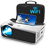 """Video WiFi Projector With Carry Bag - KECAG Native 720P Mini Portable Projector Support Synchronize Smartphone Screen, Full HD 1080P 200"""" Display Size, Compatible With TV Stick, HDMI, VGA, TF, AV, USB"""