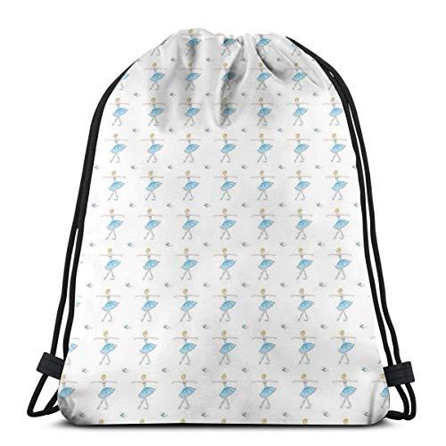 LLiopn Drawstring Sack Backpacks Bags,Slim Blonde Dancing Girl Soft Pencil Illustration,Adjustable.,5 Liter Capacity,Adjustable.