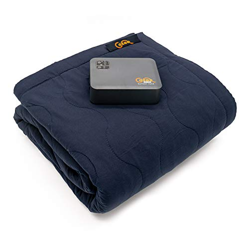 """The Cozee - Battery Operated Heated Blanket, Heats in 30-45 min, 2 Hours on High, 5 Hours on Low, 60""""x60"""" Soft Fleece Throw, Portable Car Camping Outdoor Sport Events, Water-Resistant, 2 USB Ports"""