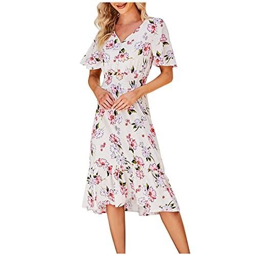 Vestido bohemio con estampado floral, cuello en V, ajustado, largo hasta la...