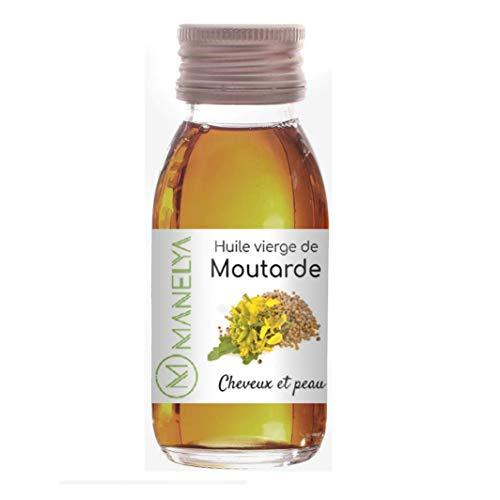 Huile Biologique de Moutarde 60 ML - 100% pure et naturelle - Soin des cheveux, favorise la pousse - Flacon en verre