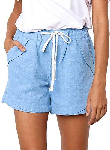 Shorts Damen Sommer Kurze Hosen Tunnelzug Elastische Stoffhose Solide Baumwolle Leinen Strand Shorts mit Taschen (262-Hellblau, Large)