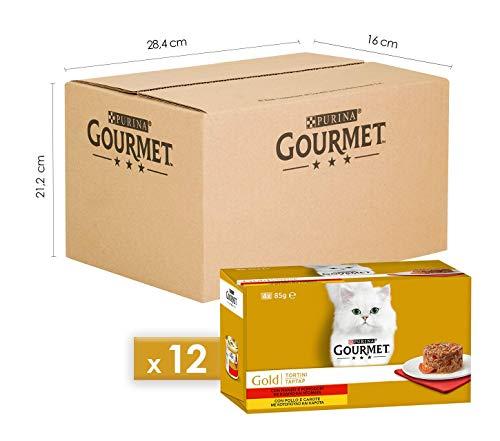 Purina Gourmet Gold Umido Gatto Tortini con Pollo e Carote, con Manzo e Pomodori, 48 Lattine da 85 g Ciascuna, 12 Confezioni da 4 x 85 g